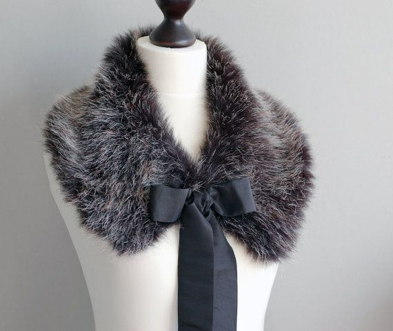 eae1f5f49b Gentle collar from soft wolf faux fur — warm and romantic accessory. Black  taffeta in the underside.