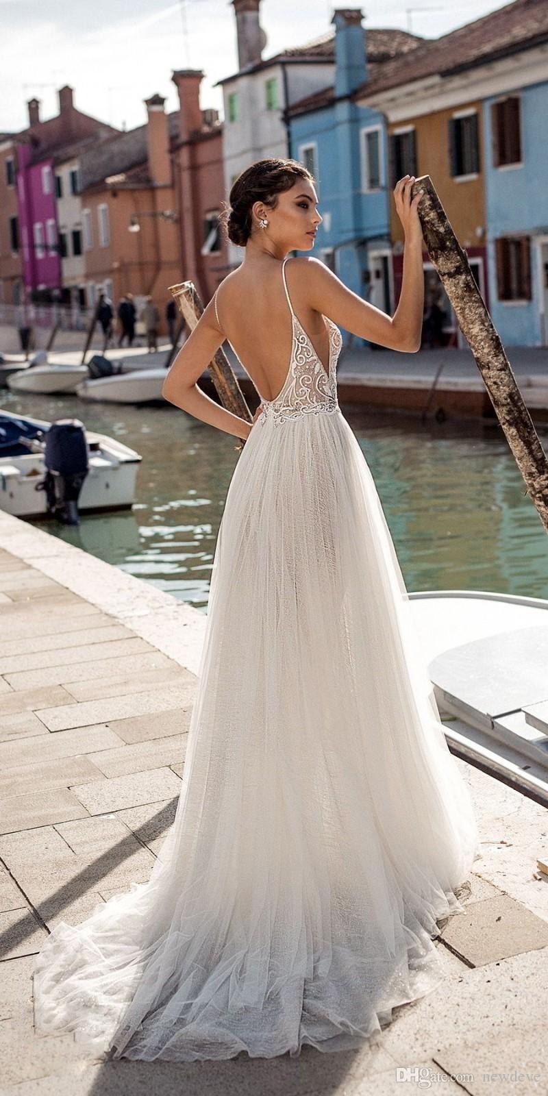 Wedding Dresses Online Shopping.Gali Karten 2019 Beach Wedding Dresses Side Split Spaghetti Sexy