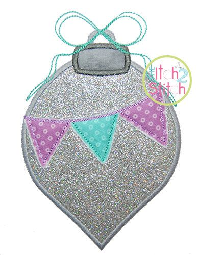 Ornament Pennant Applique  Sizes 4x4 5.5 inch by TheItch2Stitch
