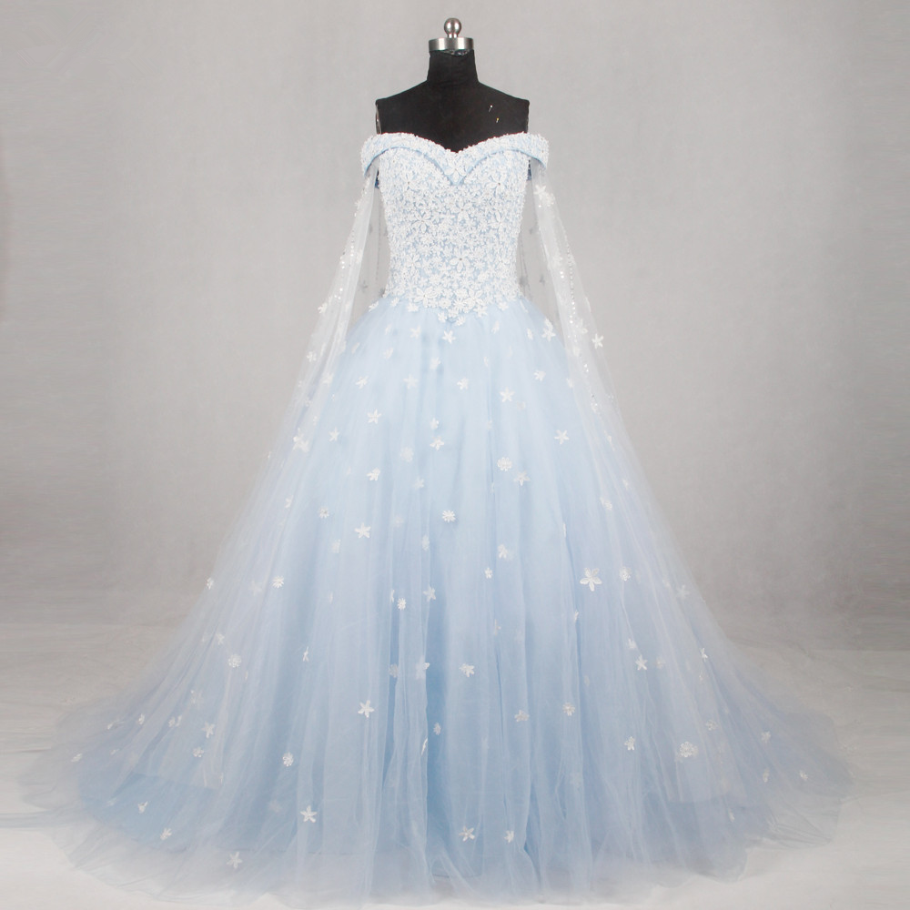 Light Blue Bridal Ball Gown with Applique,Off the Shoulder Wedding ...