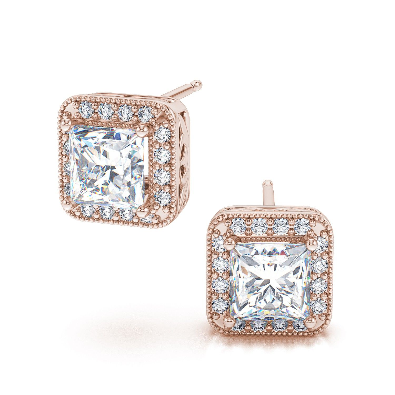 1CT Princess Pink Baguette Round Diamond Earrings Square Stud 14K Yellow Gold