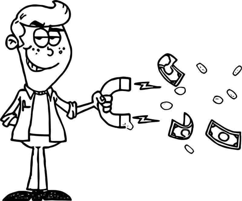 Clip Art Image Of A Mischievous Looking Man Pulling Money With A Magnet Coloring Page Art Images Coloring Pages Clip Art