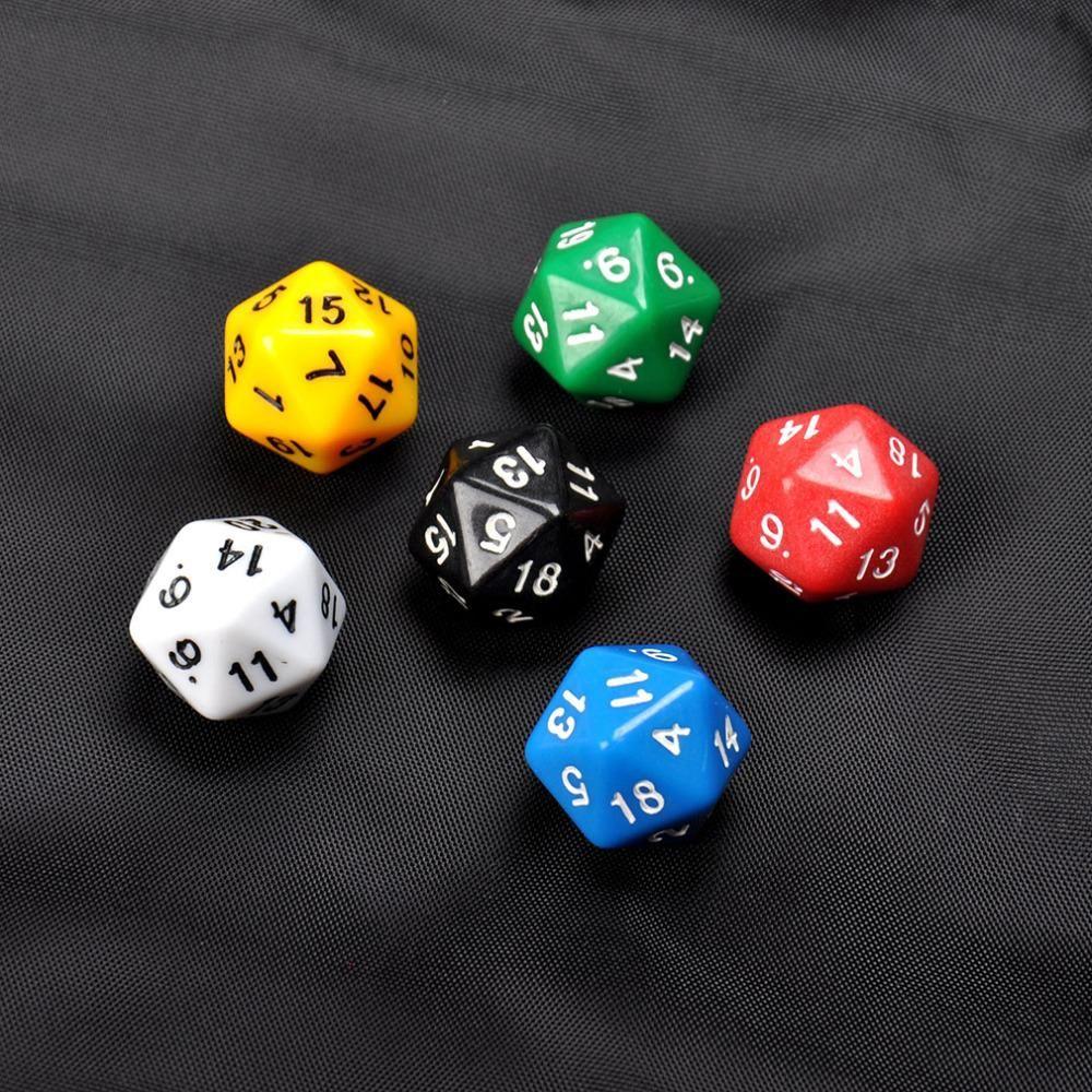 6 Set D20 Dadi Venti Sided Die RPG D & D Sei Opaco colori Multi Resina Poliedrici Per I Lati Dadi Pop per il Gioco Gaming