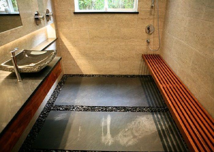 Custom Floating Koa Bathroom Vanity With Stone Forest Vessel Sink