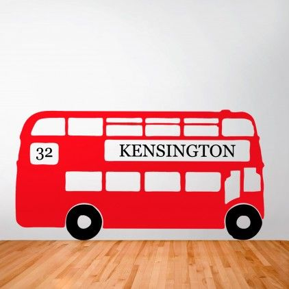 A big red bus personalised retro london bus wall sticker by oakdene designs from not on the high street choose from 9 colours and the route number and