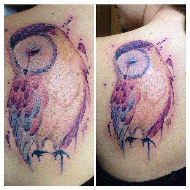 Colorful Owl Ankle Tattoo Tatouage Idees De Tatouages Et