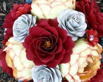 Papel Ramo Papel Flor Ramo Ramo De Novia Ramo De Otoño Rojo Y Amarillo Por Encargo Cualquier Color Flores Ramos De Flores Carta De Colores