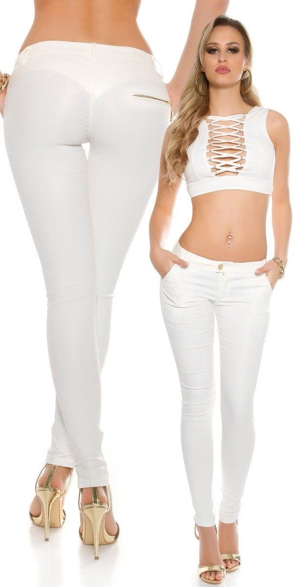 Legínové kalhoty bílé  a1a73192f3