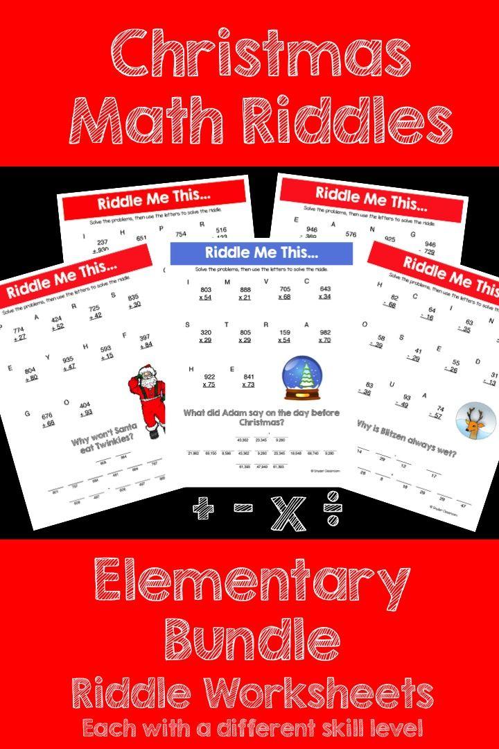 Christmas Math Riddles Elementary Bundle Math riddles