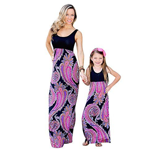 Appoi Family Clothes Mommy&Me Floral Print Sundress Vest Women Baby Girl  Dress Matching Dresses for Mother Daughter cc8dba1661a2