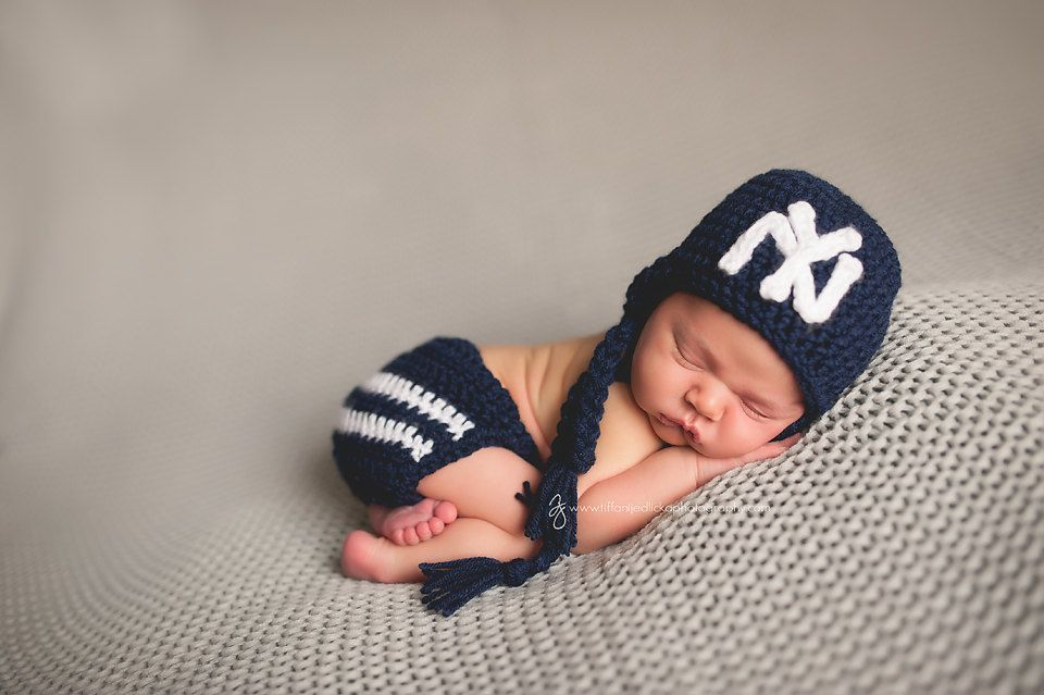 Ny yankees hat and diaper cover outfit newborn baby toddler child iron on patch new york yankees infant stocking hat photo prop baseball