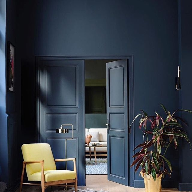 Hagueblue creates a strong indoor presence but can also - Can you use interior paint outdoors ...