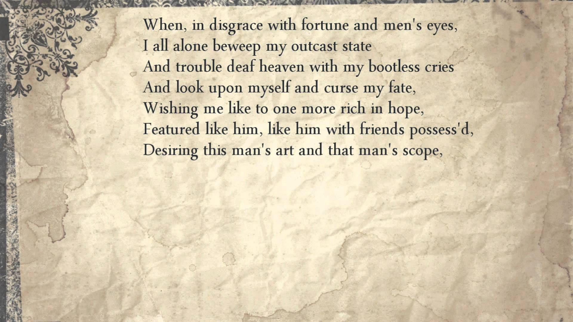 Sonnet 29 When In Disgrace With Fortune And Men S Eye Romantic Shakespeare Quote 116 No Fear Hamlet Act 1 Scene 3