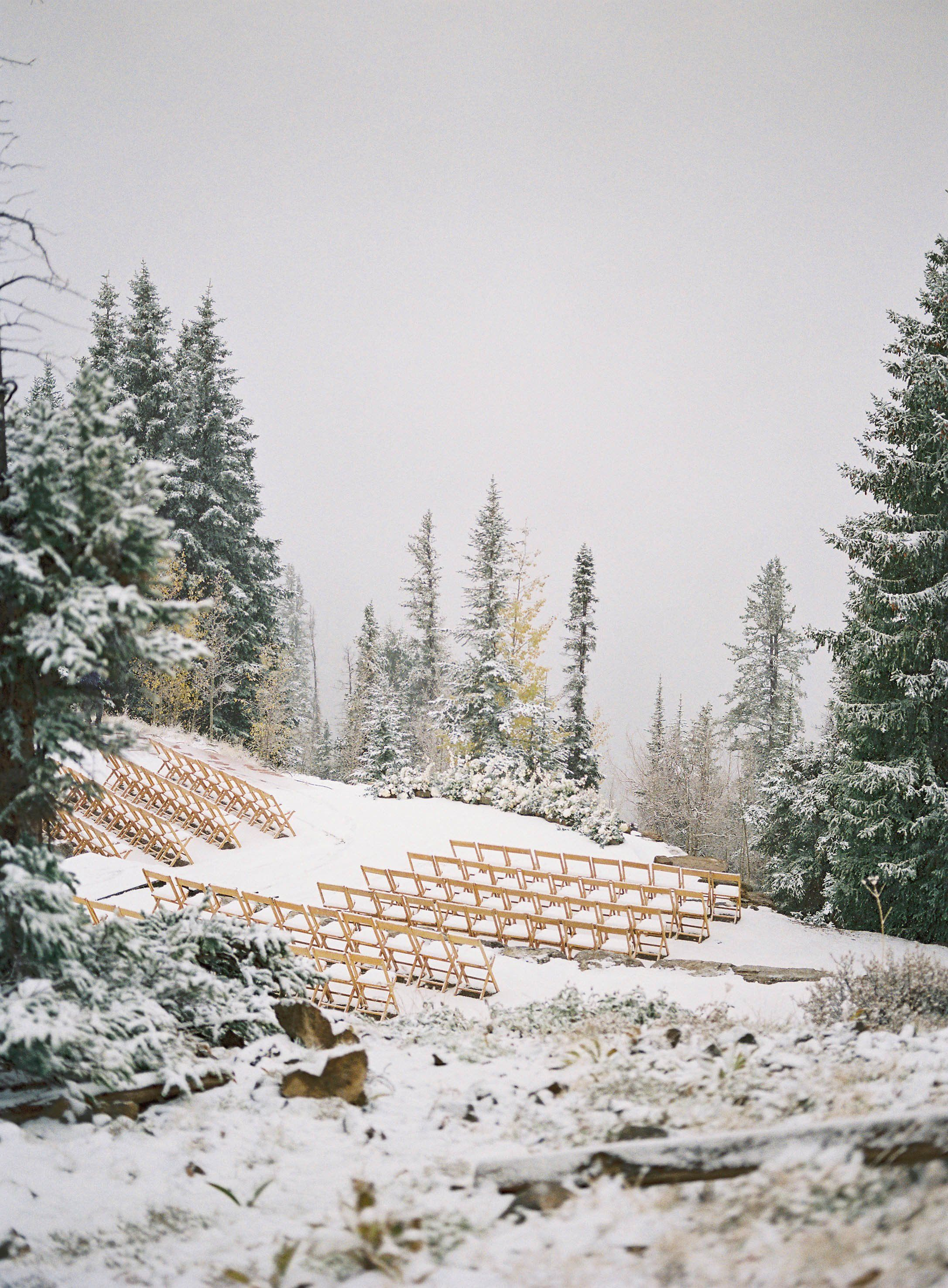A Surprise Snowfall Wowed Guests at This Couples Fall Wedding in Aspen, Colorado