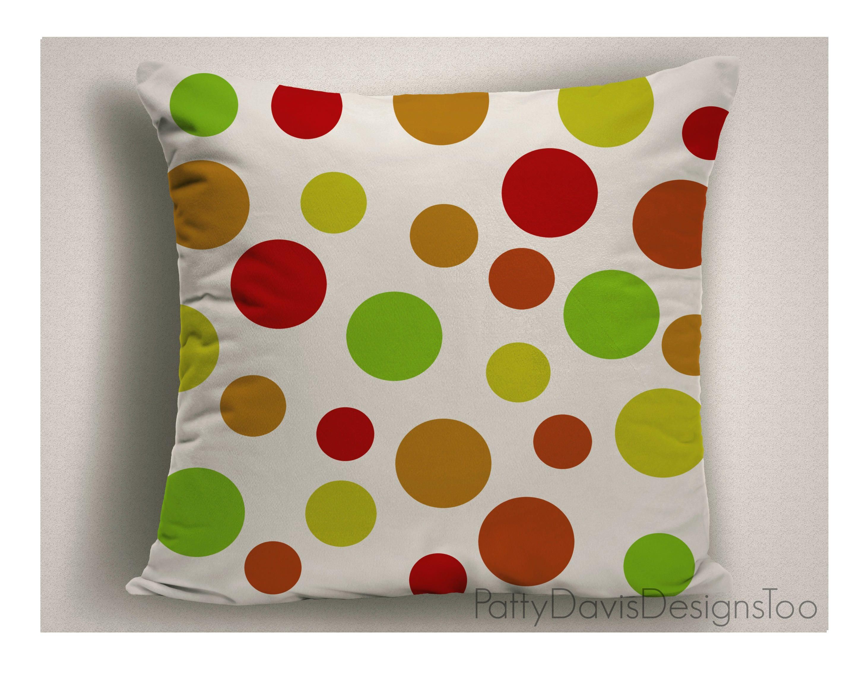 red and green outdoor pillows with polka dots large outdoor pillow