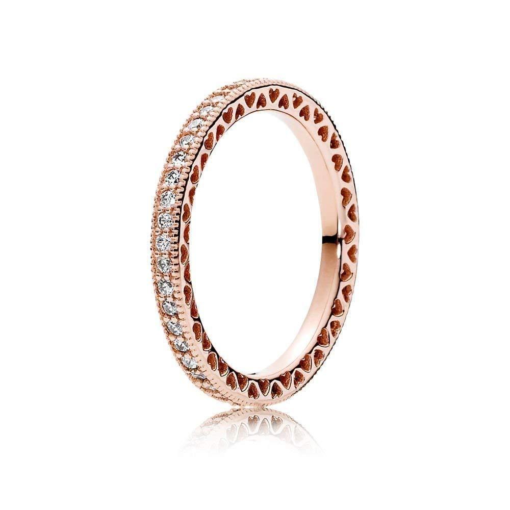 PANDORA Hearts of Ring Rose & Clear CZ 180963CZ-54 EU 7 US ...