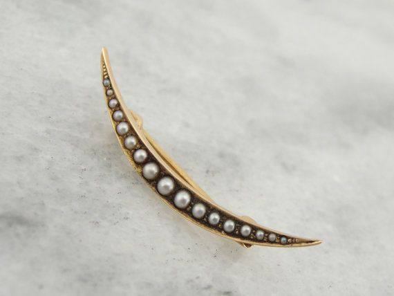 Croissant De Lune Perle Et Or Broche Late Victorian Au Etsy Brooch Crescent Moon Pearl Brooch