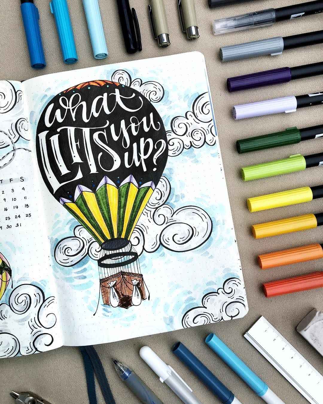 8ee497bad 50+ Hot Air Balloon bullet journal layout Ideas and Spreads ...