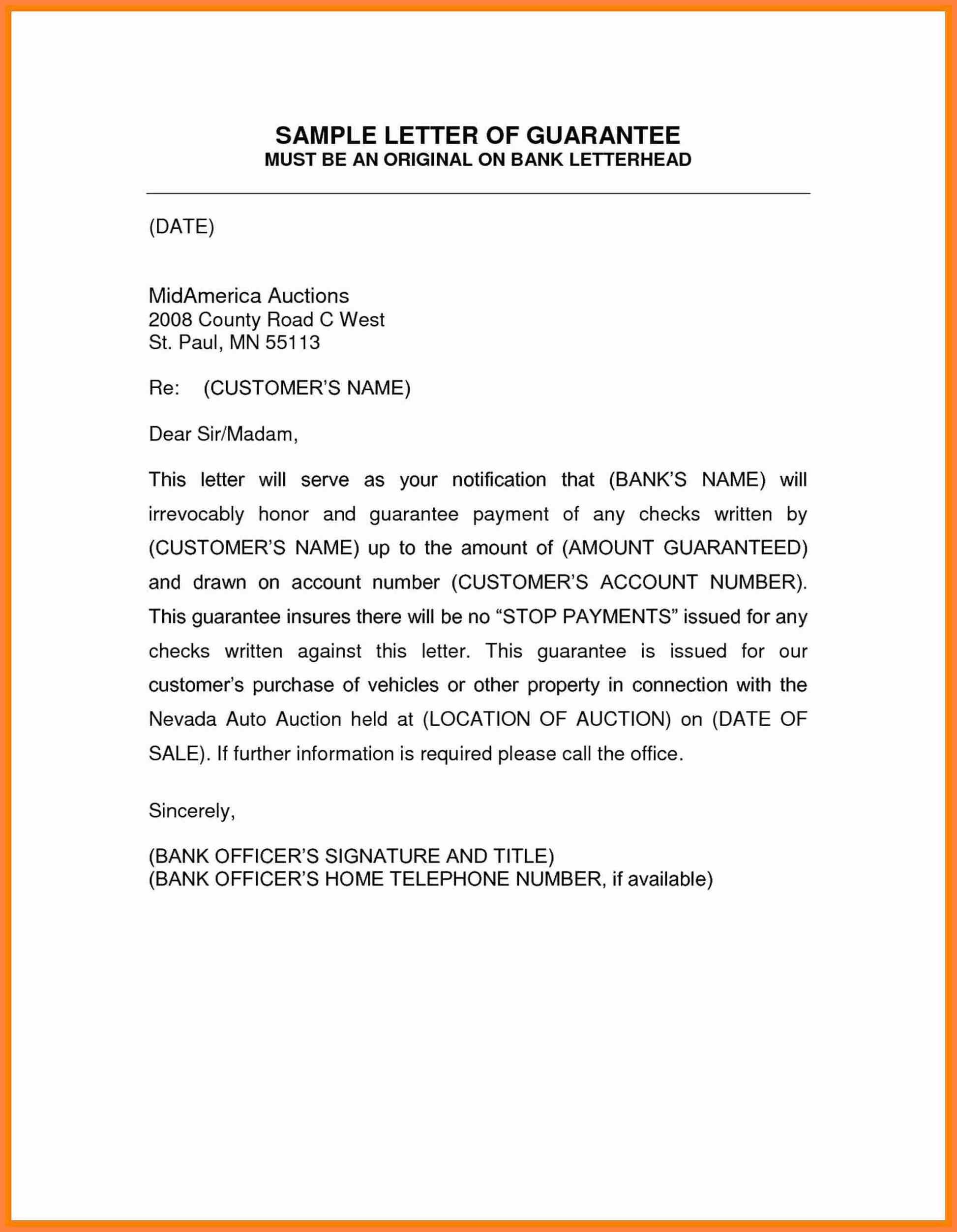 Letter Of Guarantee Template Lettering Templates Letter Template