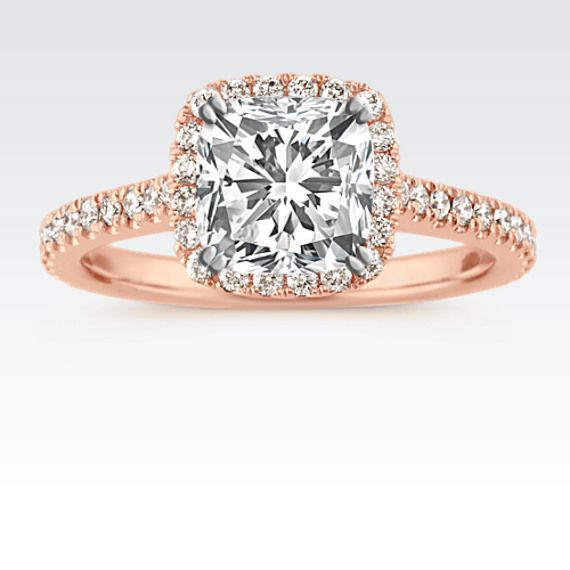 Halo Diamond Engagement Ring in 14k Rose Gold #cushionengagementring