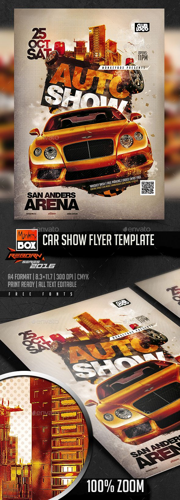 car show flyer template flyer template flyers and psd templates. Black Bedroom Furniture Sets. Home Design Ideas