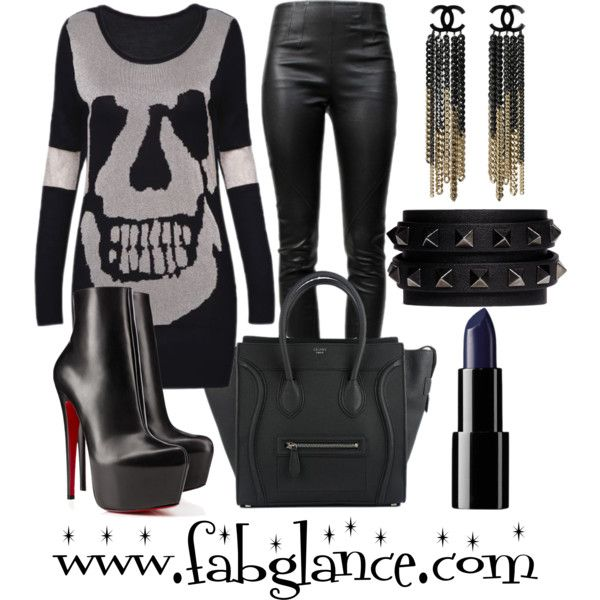 This week's featured #PolyvoreOOTD, by fabglance, might just be the perfect look for a chic Halloween! http://polyv.re/10G07pm