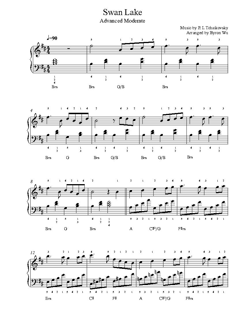 Swan Lake By P I Tchaikovsky Piano Sheet Music Advanced Level Piano Sheet Piano Sheet Music Sheet Music