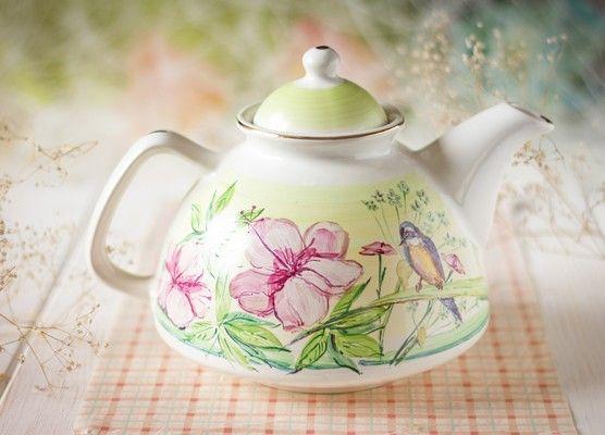 The flower collection handmade teapot, $37.00, catalog of St Elisabeth Convent. #catalogofgoofgooddeed #ceramic #pottery #bird #teapot