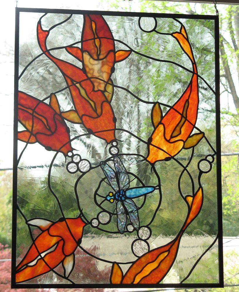 Koi stained glass panel 2 by trilobiteglassworks on deviantart stainedglassfish