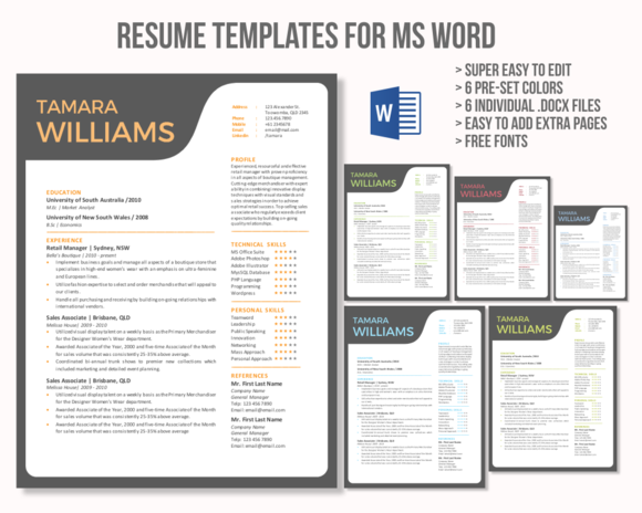 Unique Creative Word Resume Template  Cv Template Simple Cv