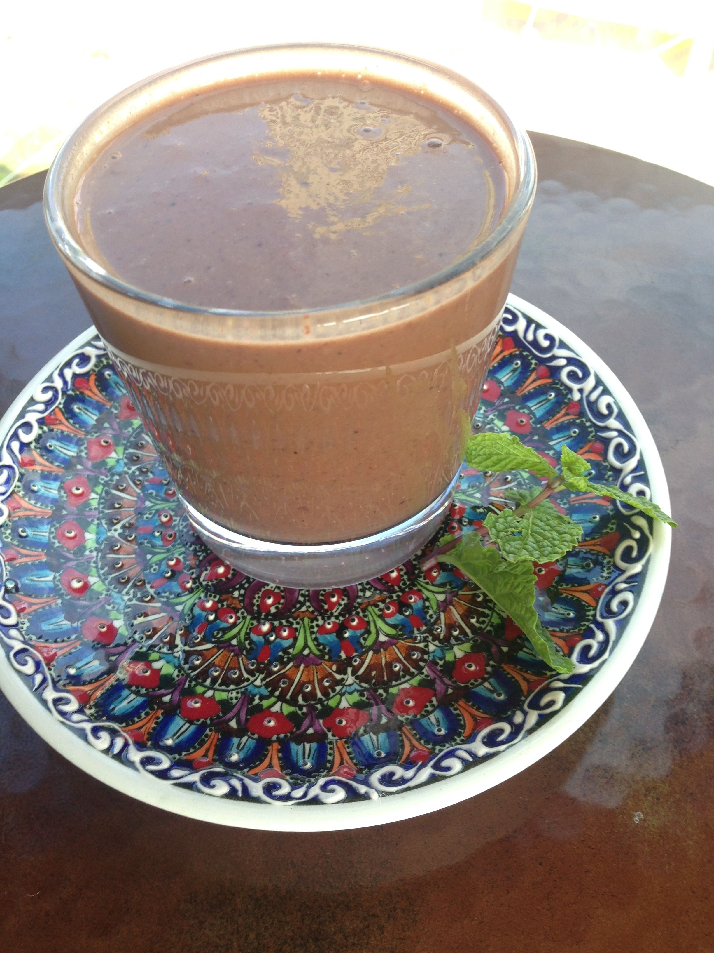 Chocolate cravings: raw cacao, hemp, raw local honey, organic unheated almond milk, berries, banana, wheatgrass and flax seeds.   Combining banana with flax seeds helps with absorption as does coming berries with raw cacao.