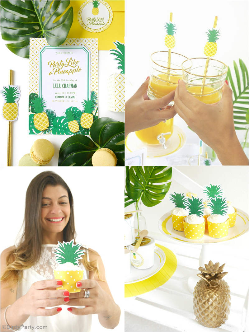 F te d 39 anniversaire diy th me ananas 25th birthday parties diy decorat - Idee fete anniversaire ...