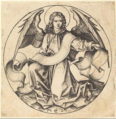 """The Angel of Saint Matthew"" (c.1490), Martin Schongauer (c.1450-1491), Engraving. Rosenwald Collection. Hollstein, no.72, National Gallery of Art. Washington DC, United States. #angels"