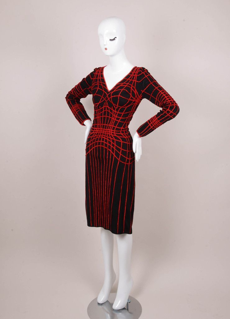 Vintage Red and Black Web Detail Long Sleeve Ribbed Knit Dress