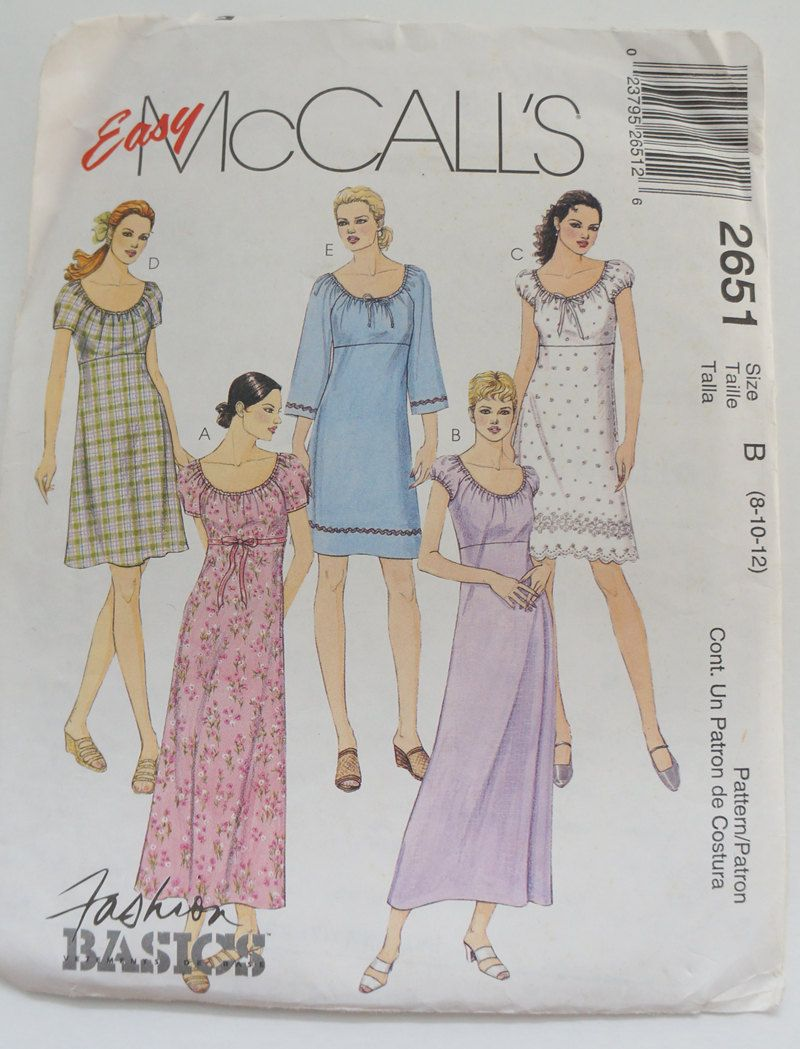 8c9951f6ec3 Uncut McCall s mccall Paper Sewing Pattern 2651 Misses Dress In Two Lengths  Size B 8