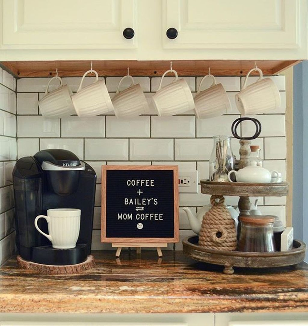 30+ Fantastic DIY Coffee Bar Ideas For Your Home #coffeebarideas