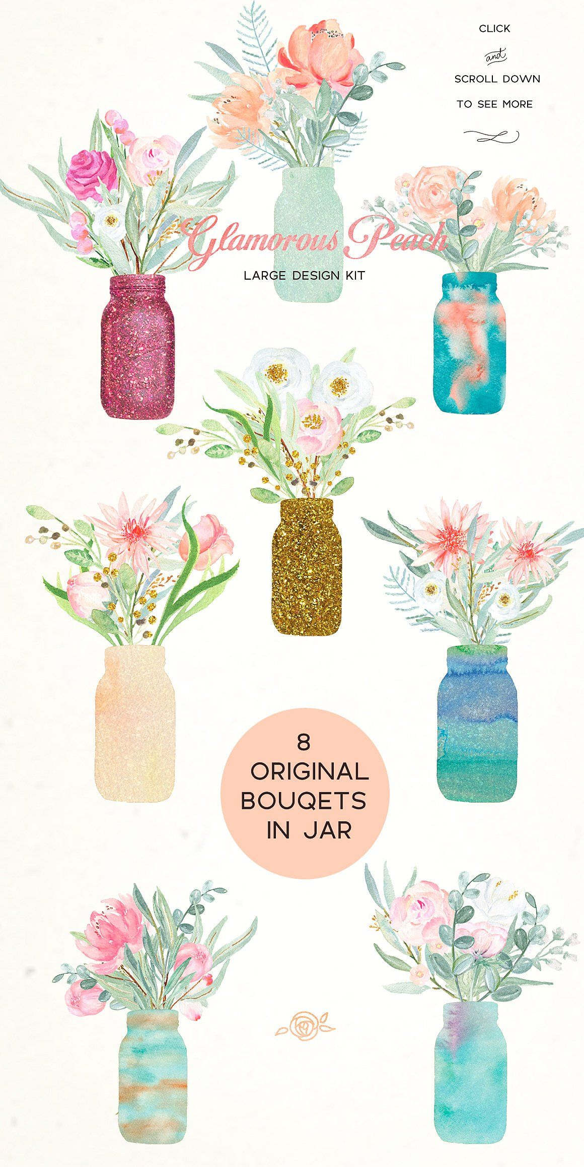 SALE -50%OFF.Peach peonies in jars. by LABFcreations on @creativemarket