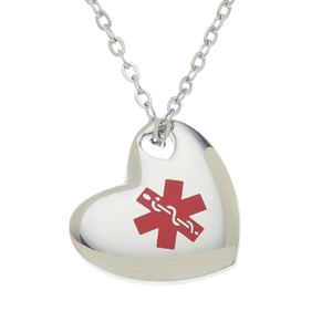 Stainless steel medical id pendant necklace puffed heart medical stainless steel medical id pendant necklace puffed heart aloadofball Images