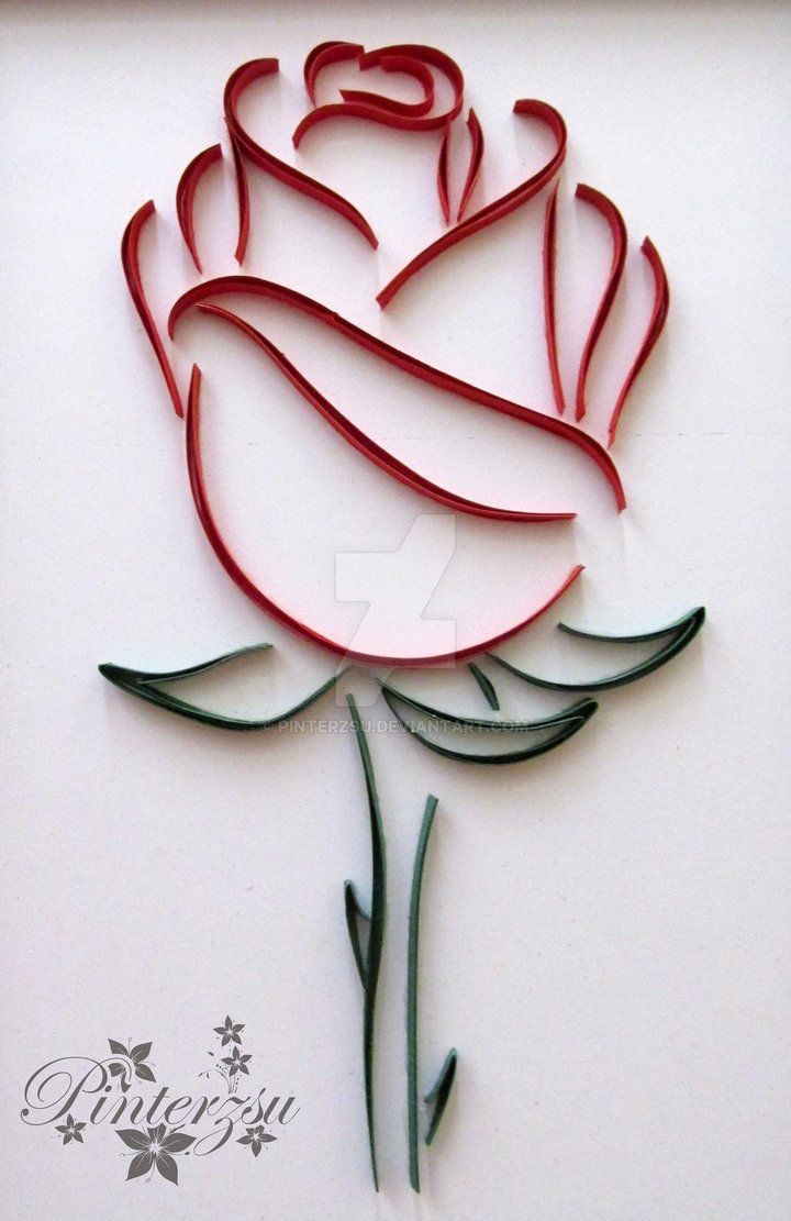 Quilled Rose by pinterzsu / #paperquillingdesignsflowers