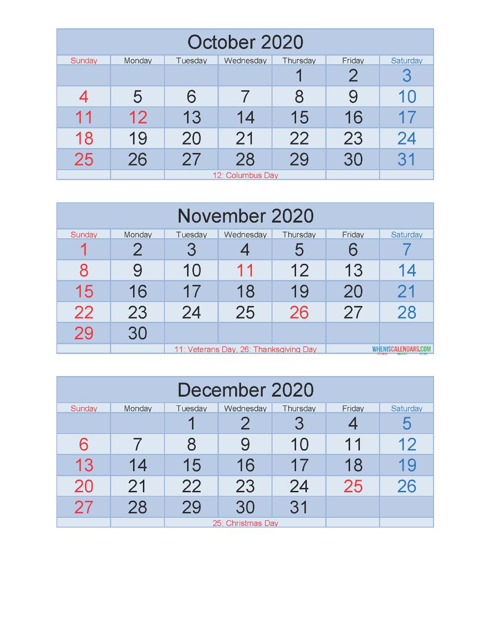 Free Printable 3 Month Calendar 2020 Oct Nov Dec Pdf Excel Free Printable 2020 Calendar Templates Calendar Calendar Template Calendar 2020