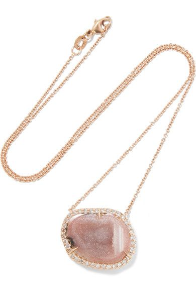 18-karat Rose Gold, Geode And Diamond Necklace - one size Kimberly McDonald