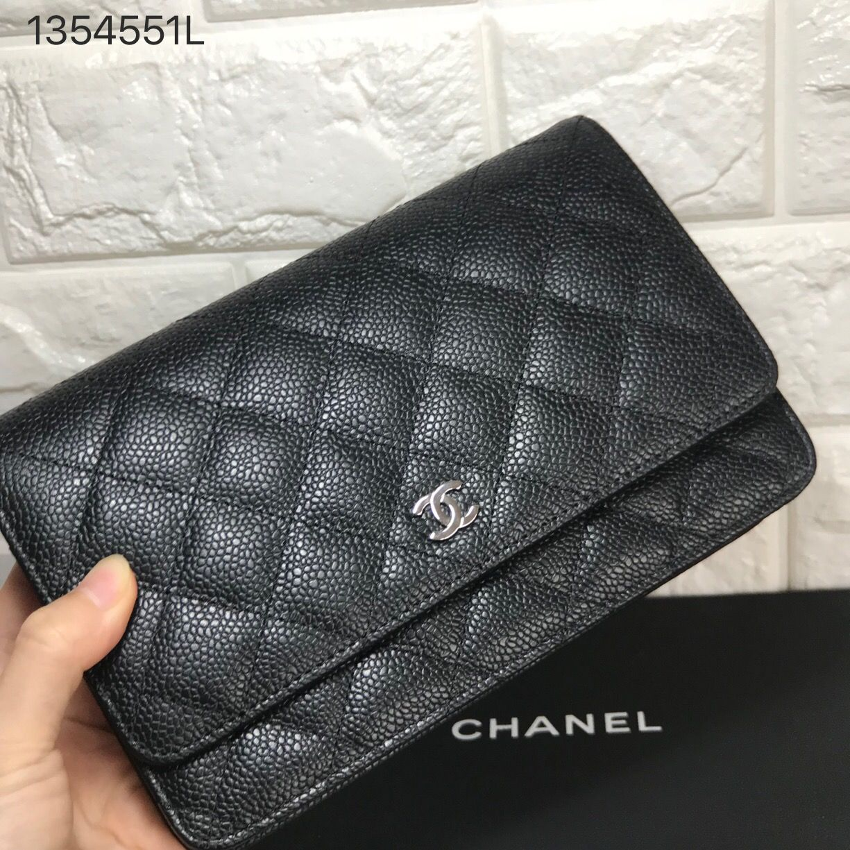 bbfe56a0a Chanel WOC wallet of chain purse original leather. Black silver ...