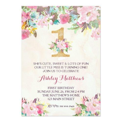 1st birthday first beautiful floral invitation invitation in 2018 watercolor birthday invitations 1st birthday first beautiful floral invitation card filmwisefo