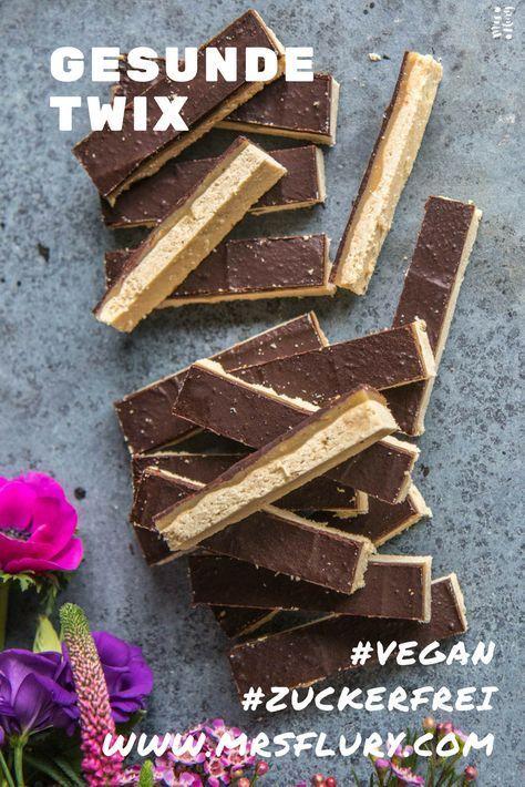 Gesunde Twix Riegel vegan zuckerfrei glutenfrei #sugarfreedesserts