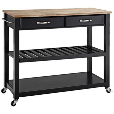 Sheffield Wood Top Black 2-Drawer Kitchen Island Cart