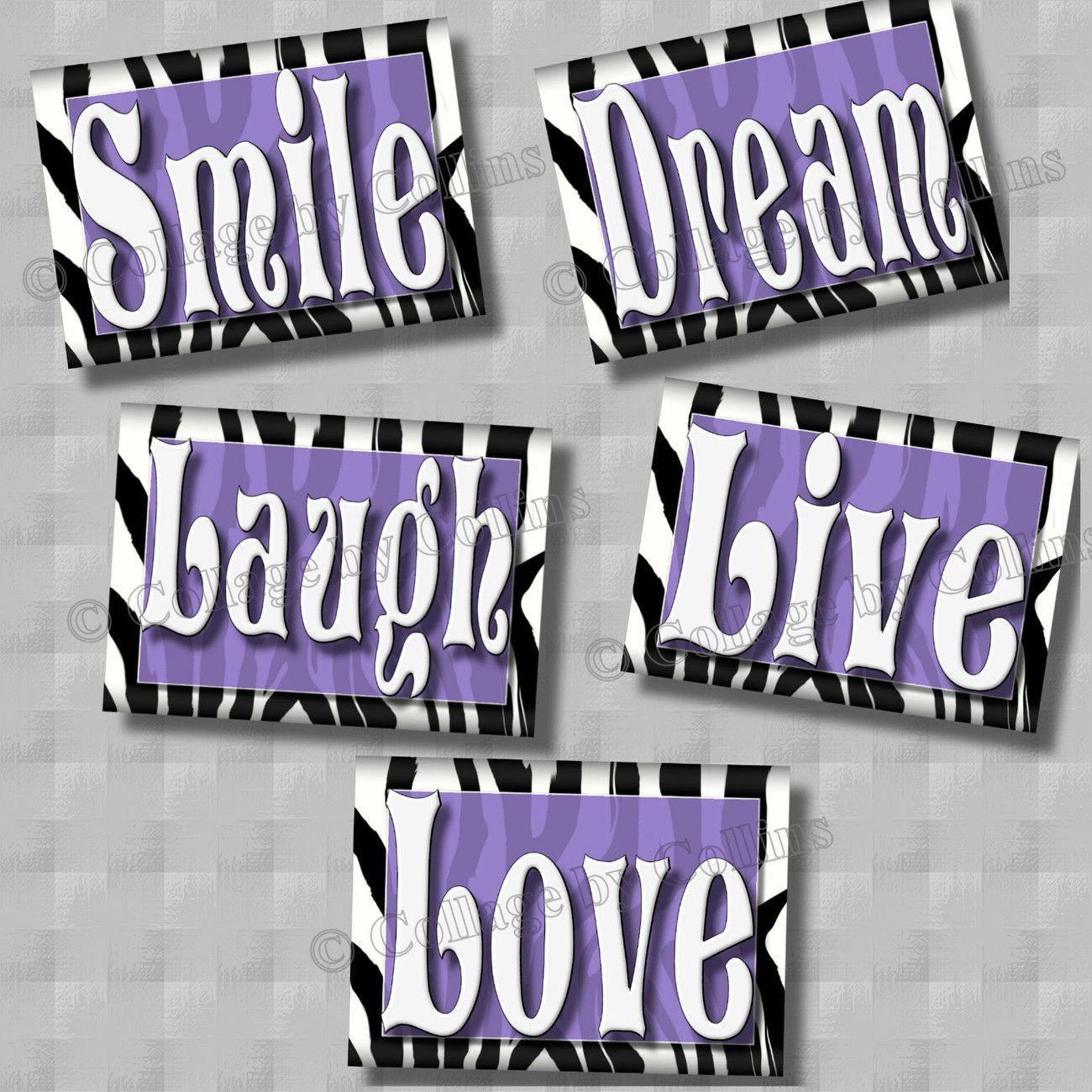 purple zebra print smile dream live love laugh quote art girls room