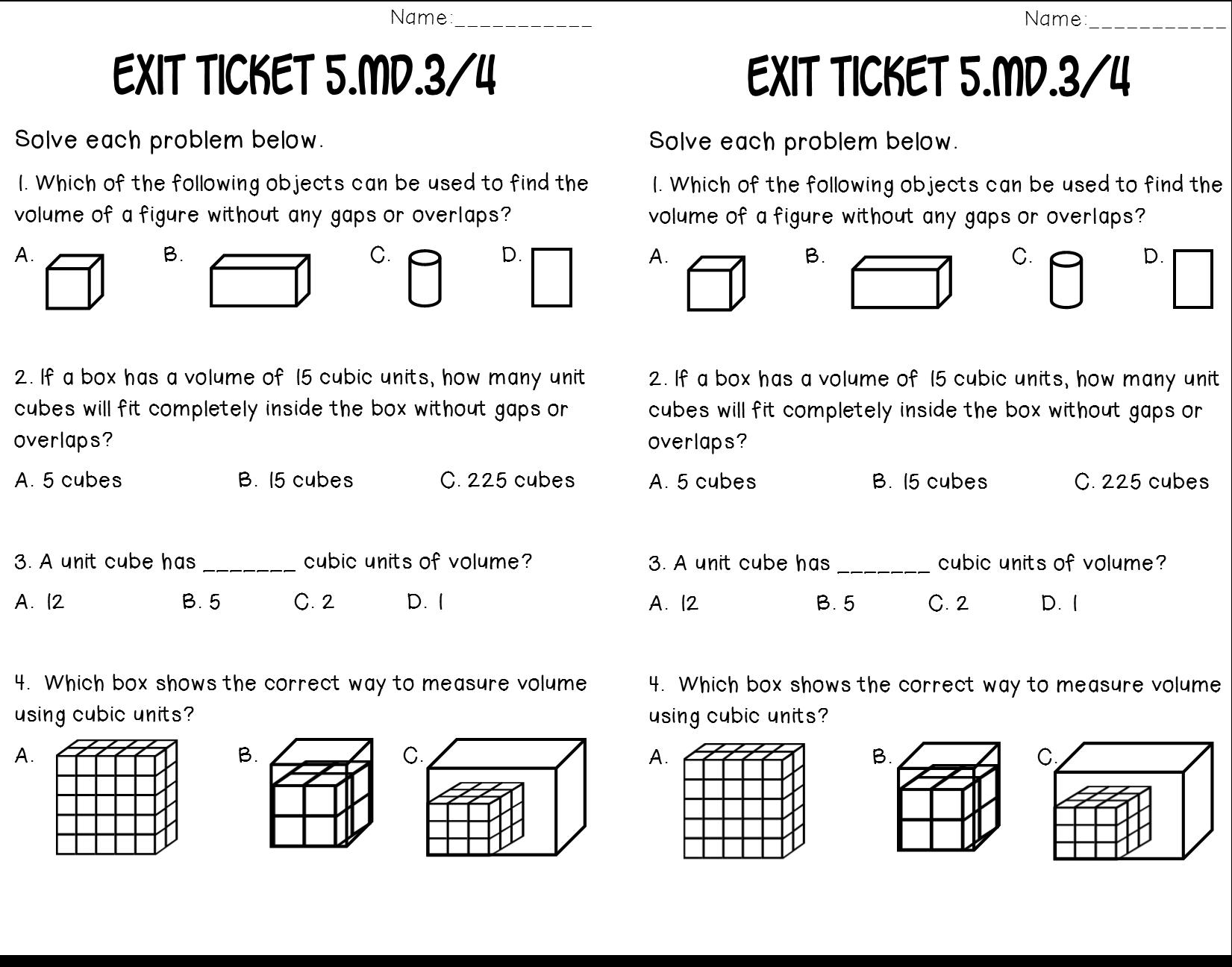 Volume Of Rectangular Prisms 5 3 4 Math Tasks Exit