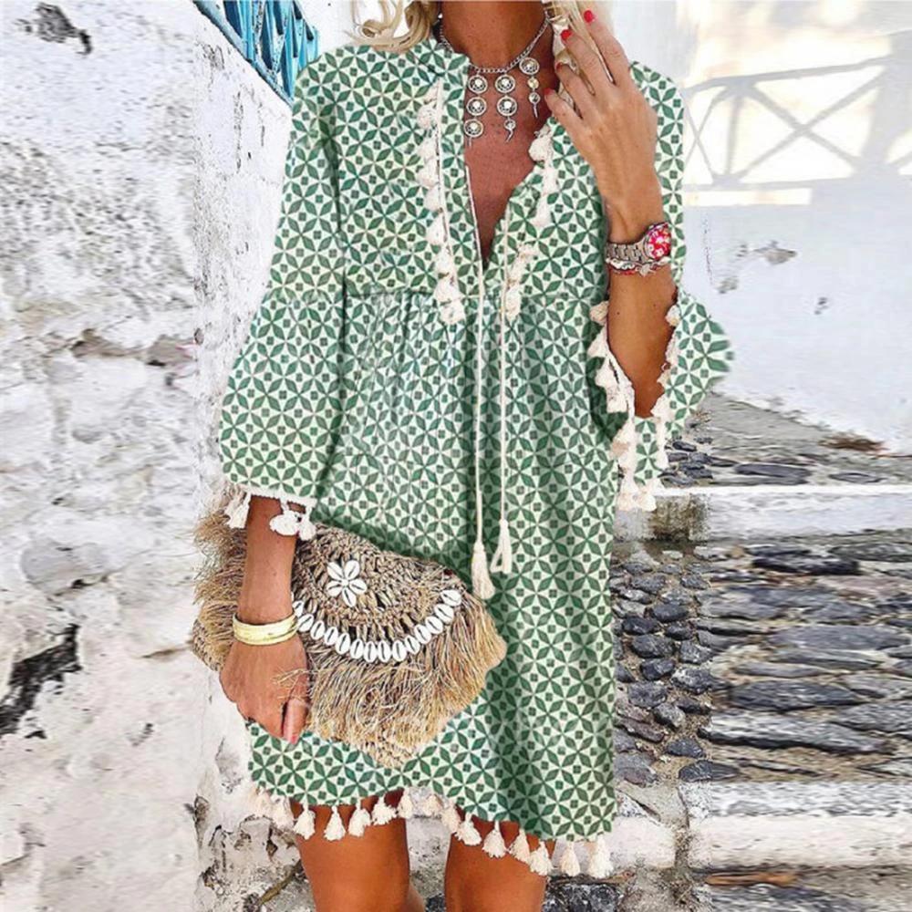 Elegant V Neck 3 4 Sleeve Loose Floral Fringed Dress Slorne Shift Dress Casual Color Block Shirts Fashion [ 1000 x 1000 Pixel ]