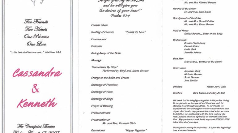 Sample Wedding Ceremony Program  Raquel    Wedding