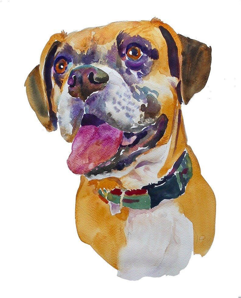 Custom Pet Portrait Painting Watercolor Pet Portrait Etsy Dog